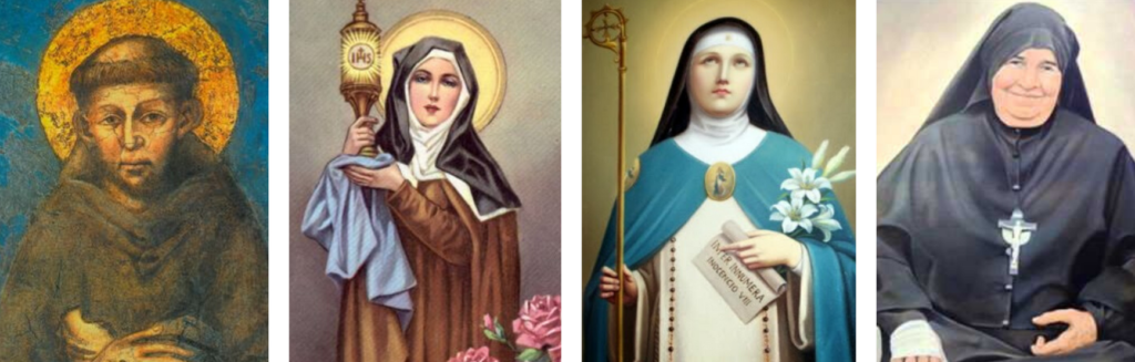 Saint François, sainte Claire, sainte Angèle de Foligno et Madre Speranza